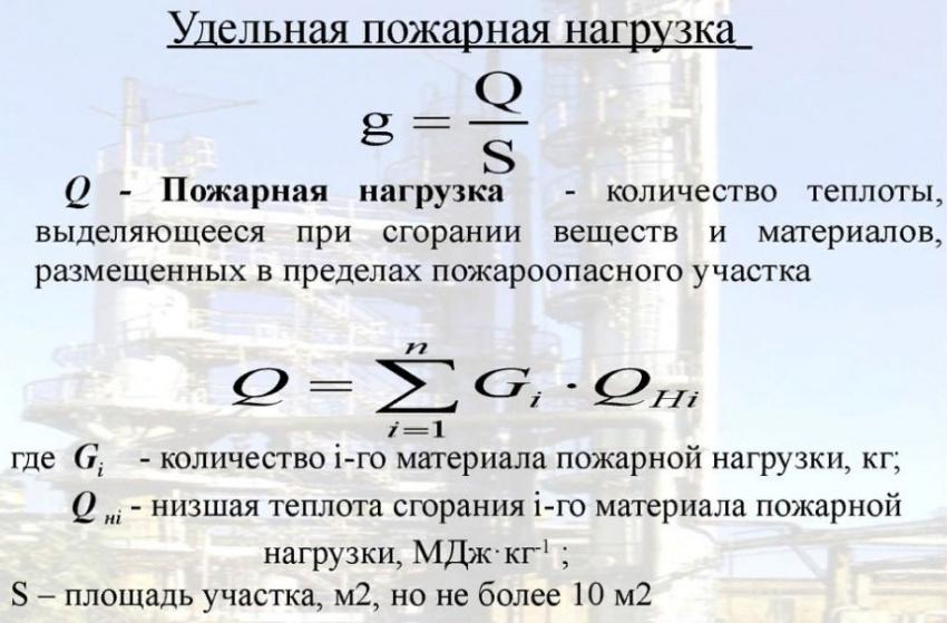 формула удельной пожарной нагрузки