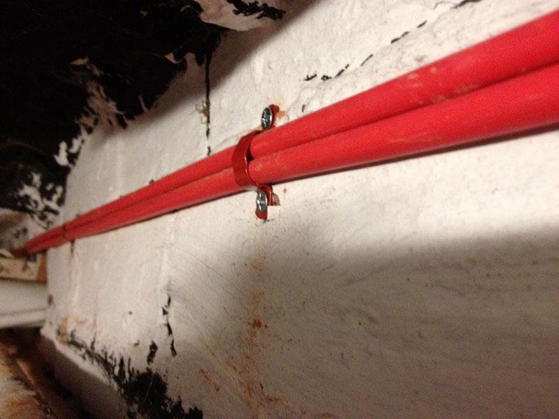 прокладка кабелей пожарной сигнализации и кабелей освещения