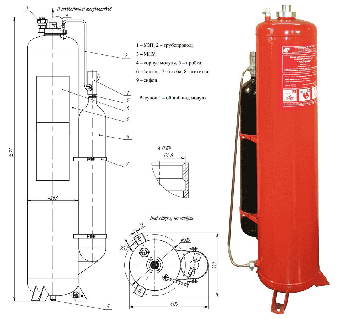 модульная установка пожаротушения тонкораспыленной водой тайфун 240